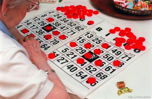Goldie Bagnell, 93. Bingo at the Heritage Place senior living center.