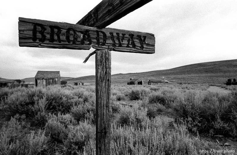 Broadway street sign at Bodie State Historic Park, ghost town