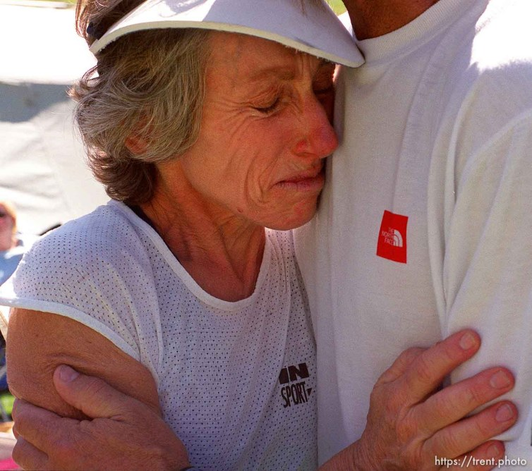 59-year-old Ann Grove breaks down into tears after crossing the finish line of the 100 miles race. Wasatch 100 Endurance Run.