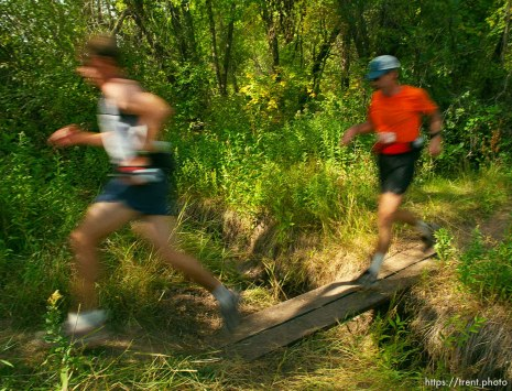Runners (Tim Spence and pacer) near the Lambs Canyon aid station. Wasatch 100 Endurance Run.
