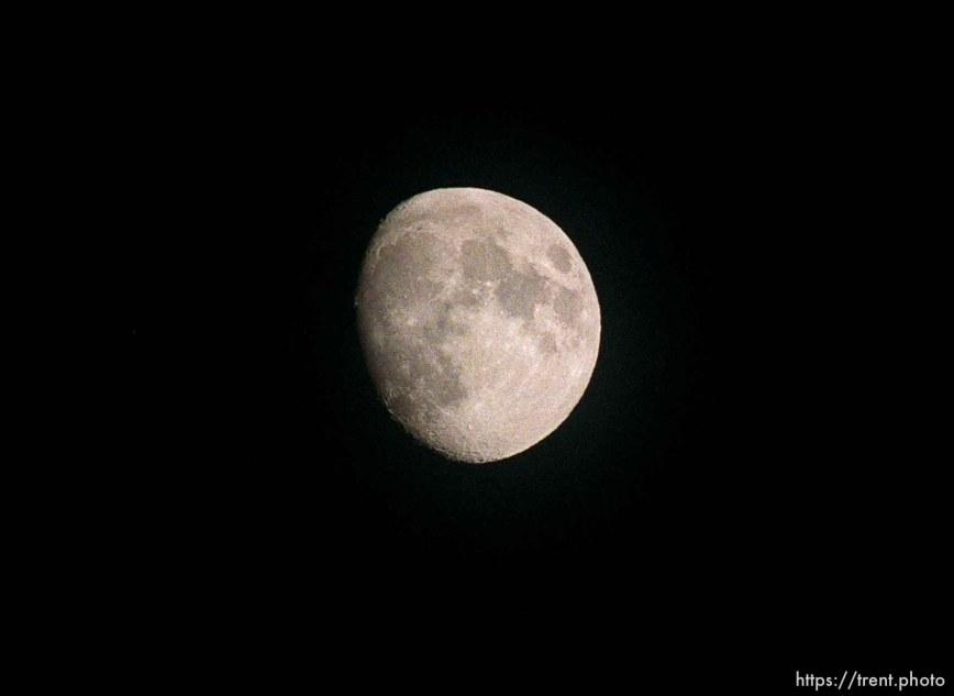 Nearly full moon at the Lambs Canyon aid station. Wasatch 100 Endurance Run.
