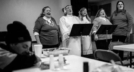 Julie Reeve, Pauline Fitzgerald, Chastadi Reeve, RaVae Bobo, April Marden singing. Thanksgiving dinner at the Salt Lake City Mission.