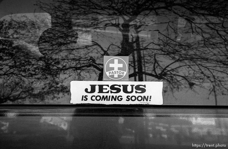 Jesus is coming soon sign on pastor's van. Thanksgiving dinner at the Salt Lake City Mission.