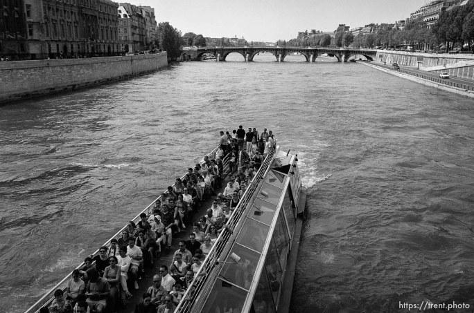 Tour boat in the river Seine
