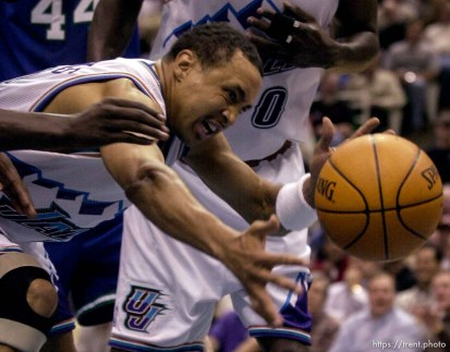 John Starks loses the ball as the Utah Jazz face the Dallas Mavericks in game five of their first round playoff series, in Salt Lake City Thursday. 05/03/2001