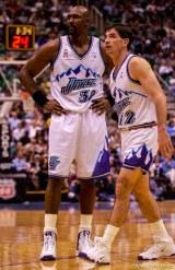 Karl Malone and John Stockton. Jazz host the Philadelphia 76ers Saturday night at the Delta Center. Jazz win. 12.29.2001, 8:03:39 PM