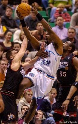 Karl Malone. Jazz host the Philadelphia 76ers Saturday night at the Delta Center. Jazz win. 12.29.2001, 9:09:52 PM