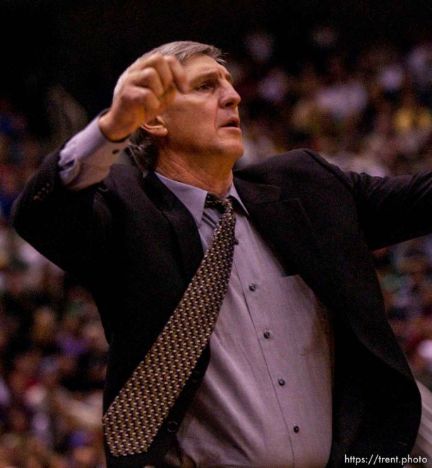 Coach Jerry Sloan. Jazz host the Philadelphia 76ers Saturday night at the Delta Center. Jazz win. 12.29.2001, 9:17:49 PM