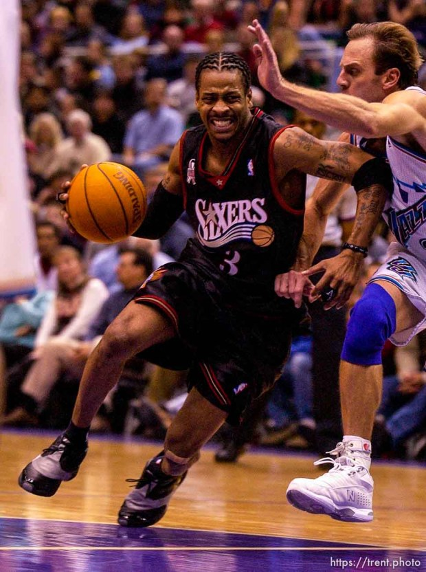 Allen Iverson, John Crotty. Jazz host the Philadelphia 76ers Saturday night at the Delta Center. Jazz win. 12.29.2001, 9:26:41 PM