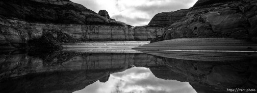 reflections. Low water level at Lake Powell. 02/19/2003