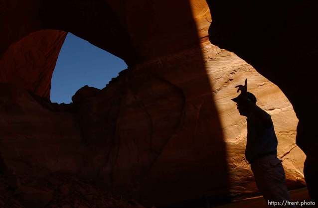 Richard Ingebretsen, founder and president of the Glen Canyon Institute, speaks to journalists under the LaGorce arch in Davis Gulch on a trip on Lake Powell. Landmarks which had previously been submerged in Glen Canyon are now becoming visible with the lower water levels in Lake Powell.