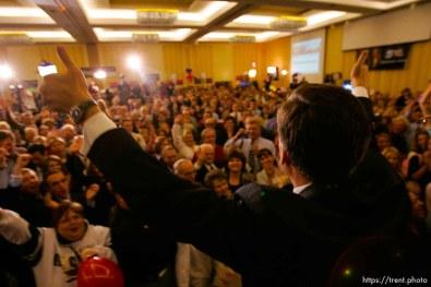 Jon Huntsman Jr., makes his acceptance speech for Utah Governor at Salt Lake City's Hilton Hotel.