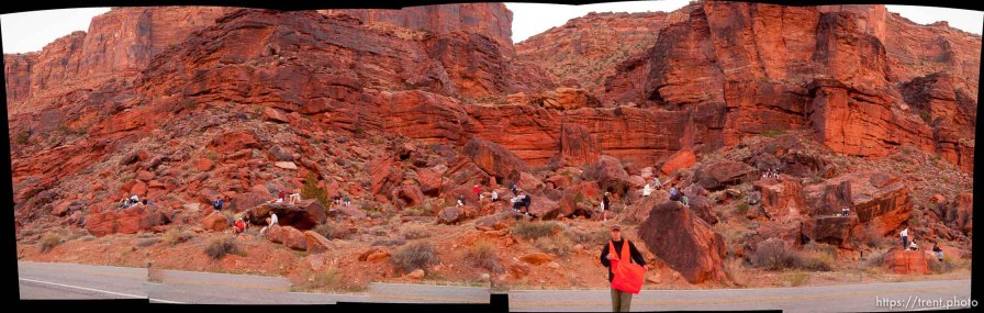 People waiting for the start on the red rock. Moab - The 29th annual Canyonlands Half Marathon, which runs along the Colorado River on Highway 128 and into Moab.