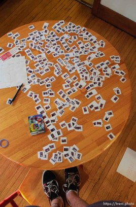 trent feet and photos on the table for a composite of a soccer game (project later abandoned- too big) 3/29/04