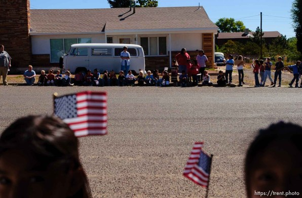 Marine Quinn Keith, killed in Iraq, was honored with a funeral procession through his hometown of Blanding, Utah, Wednesday. american flag