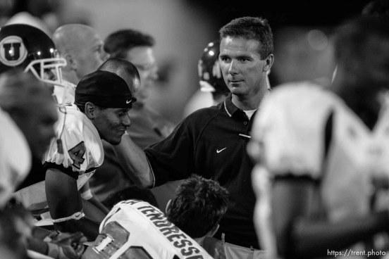 Utah football coach Urban Meyer. Utah State University (USU) vs. Utah college football.