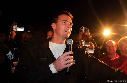 coach urban meyer. The Utah football team and their Fiesta Bowl appearance was the focus of a large pep rally was held Thursday evening at the Point South Mountain Resort. A large crowd of Utah fans was joined by the school band and cheerleaders.