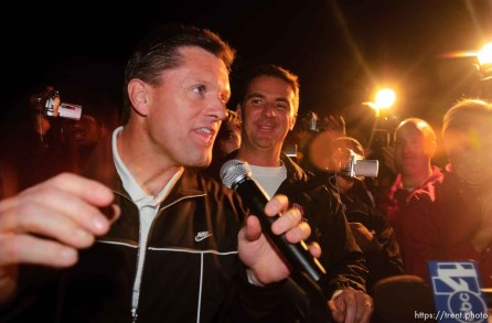 coaches kyle whittingham, urban meyer. The Utah football team and their Fiesta Bowl appearance was the focus of a large pep rally was held Thursday evening at the Point South Mountain Resort. A large crowd of Utah fans was joined by the school band and cheerleaders.