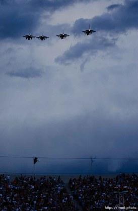 fighter jet flyover. Stadium of Fire, Saturday night at LaVell Edwards Stadium, Provo.