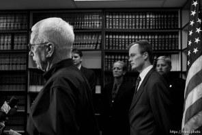 Washington County sheriff Kirk Smith (left) and Washington County attorney Brock Belnap, warren jeffs press conference ; 8.31.2006