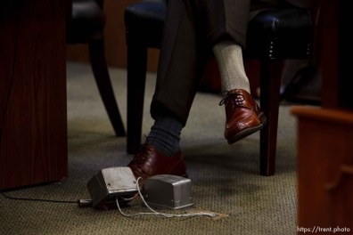 walter bugden's mismatched socks. St. George - Preliminary hearing, Warren Jeffs trial, 5th District Court. 11.21.2006