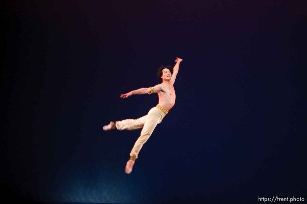 Salt Lake City - Ballet West principal dancer Hua Zhuang performs in a dress rehearsal at the Capitol Theatre.
