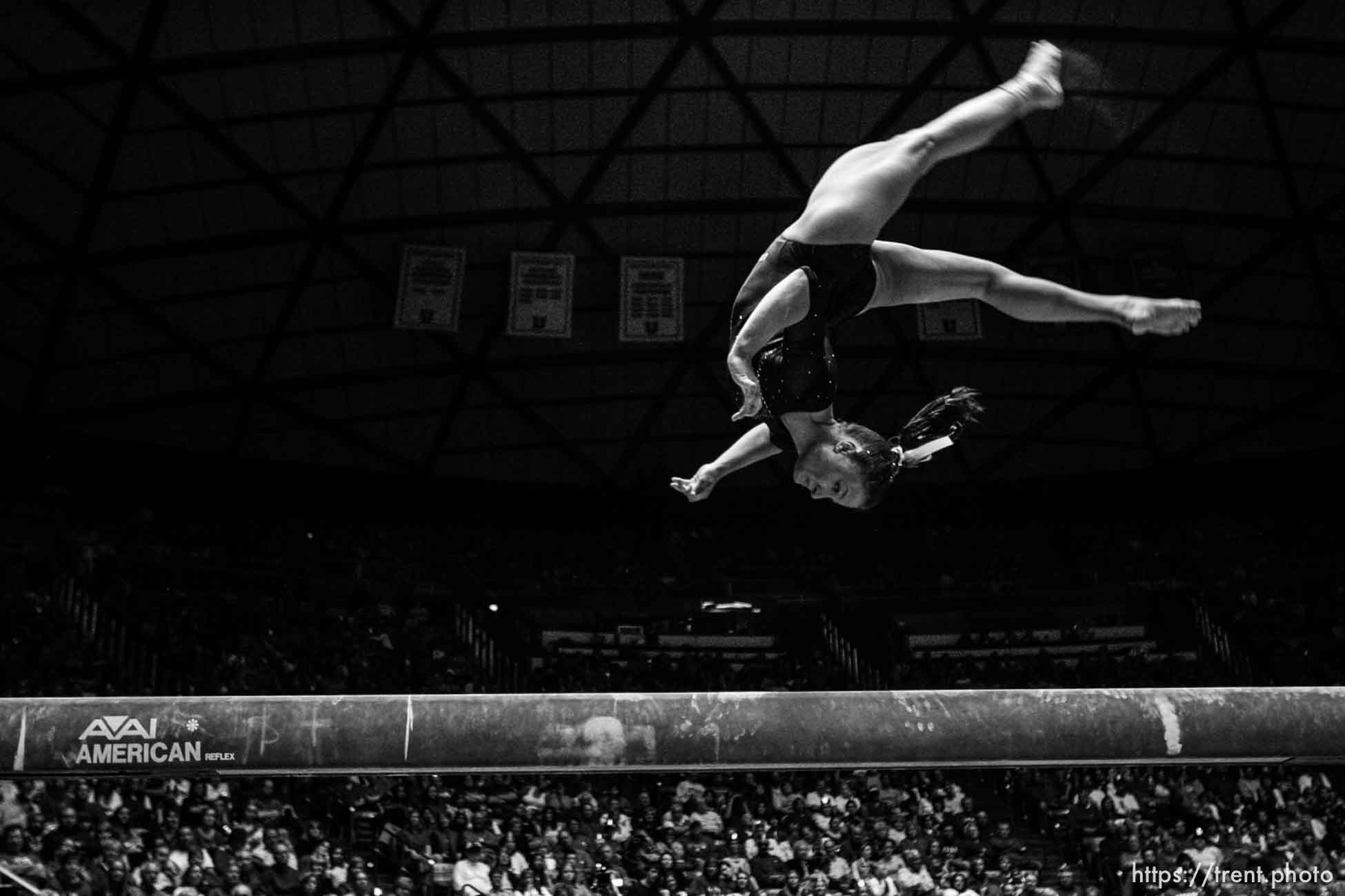 Utah's Nicolle Ford competes on the beam at University of Utah vs. Arizona State NCAA Women's gymnastics at the Huntsman Center.