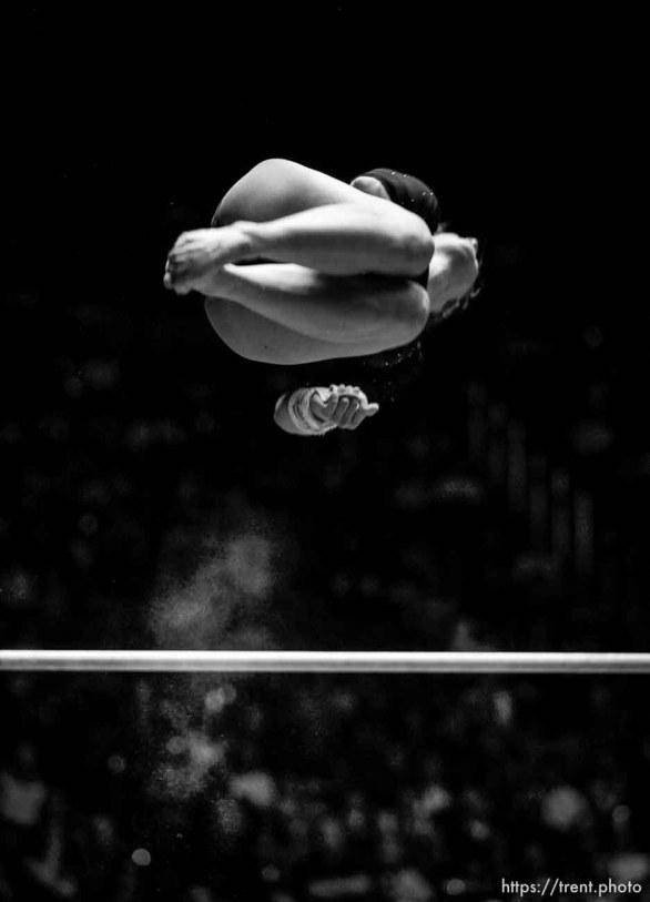 Utah's Jessica Duke competes on the bars at University of Utah vs. Arizona State NCAA Women's gymnastics at the Huntsman Center.