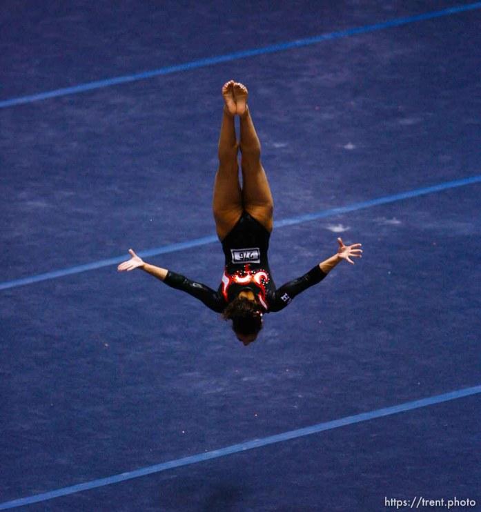 utah on floor. NCAA Women's Gymnastics Championships at the Huntsman Center
