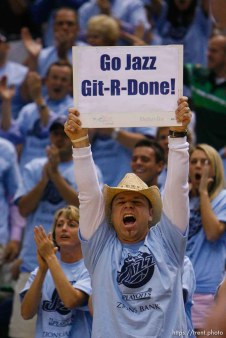 Jazz fan Chris Neuberger. Salt Lake City - Utah Jazz vs. Golden State Warriors, NBA Playoffs basketball, second round, Game Two, at EnergySolutions Arena.