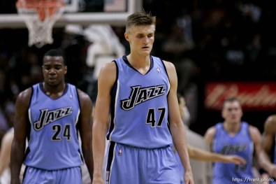 San Antonio - Utah Jazz forward Paul Millsap (24), Utah Jazz forward Andrei Kirilenko (47) walk to the bench for a timeout as the Jazz fall behind in the second quarter., Utah Jazz vs. San Antonio Spurs, Western Conference Finals game five at the AT&T Center. 5.30.2007