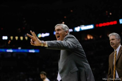 San Antonio - Jazz coach Jerry Sloan, 2nd quarter. Utah Jazz vs. San Antonio Spurs, Western Conference Finals game five at the AT&T Center. 5.30.2007