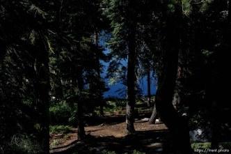 Sword Lake, water, trees, rock