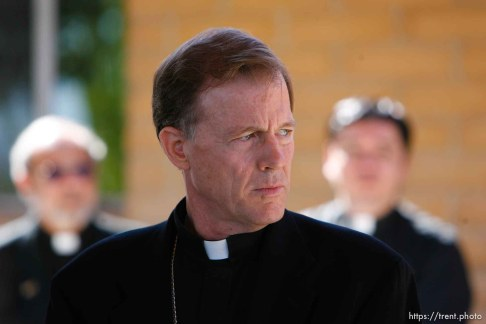 Huntington - Bishop John Wester led a special Mass in Huntington at the San Rafael Mission for family members of the six trapped miners in the Crandall Canyon mine.