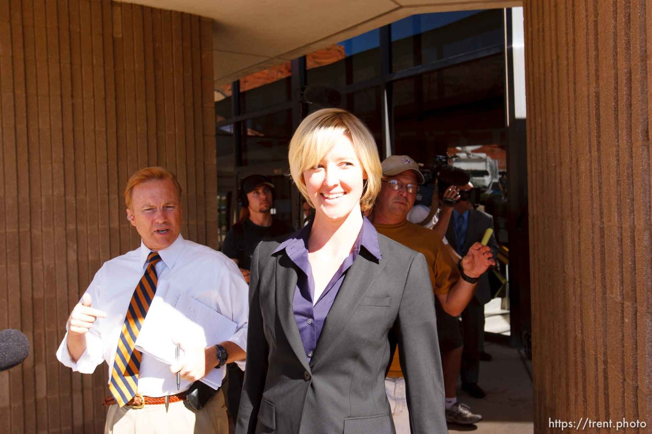 defense attorney Tara Isaacson, Brent Hunsaker. St. George - Warren Jeffs trial. The polygamous sect leader was charged with two counts of rape as an accomplice stemming from a marriage he officiated involving a 14-year-old girl and her 19-year-old cousin.