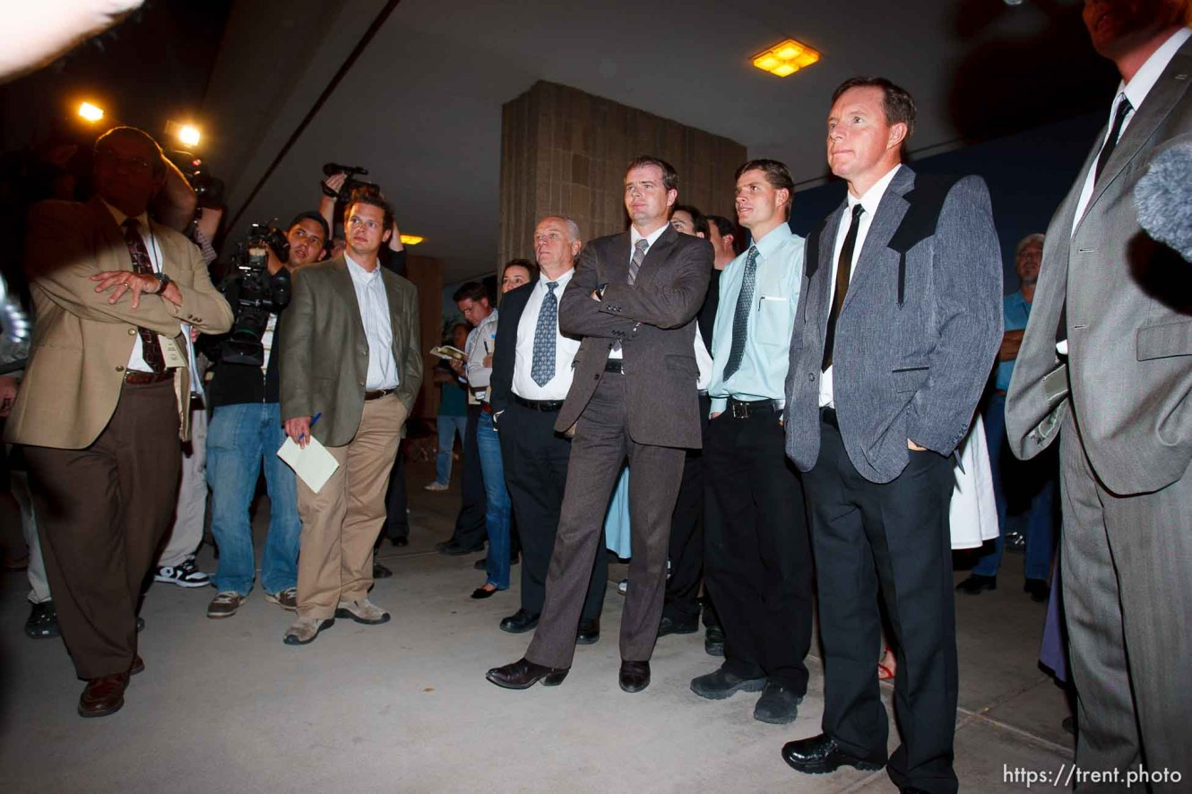 FLDS followers of Warren Jeffs. Nate Carlisle. Rodney Holm. St. George - Warren Jeffs trial. The polygamous sect leader was charged with two counts of rape as an accomplice stemming from a marriage he officiated involving a 14-year-old girl and her 19-year-old cousin.