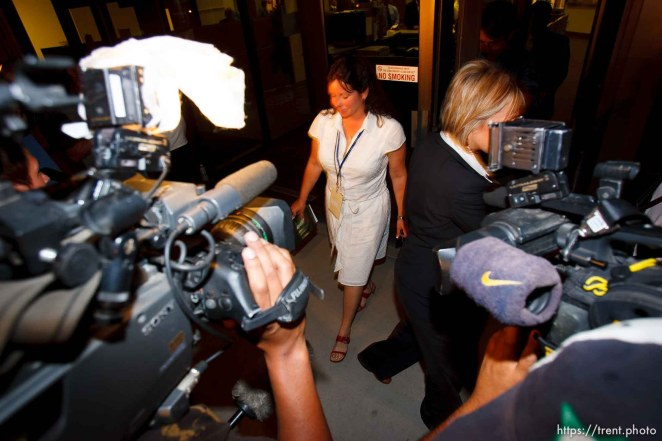 """""""journalist"""" who was blocking cameras. St. George - Warren Jeffs trial. The polygamous sect leader was charged with two counts of rape as an accomplice stemming from a marriage he officiated involving a 14-year-old girl and her 19-year-old cousin."""