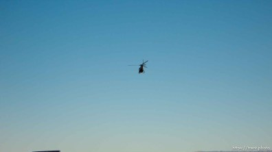 helicopter takes off at the end of the Warren Jeffs trial; 9.25.2007