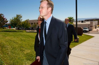 St. George - Warren Jeffs trial. The polygamous sect leader was charged with two counts of rape as an accomplice stemming from a marriage he officiated involving a 14-year-old girl and her 19-year-old cousin. brock belnap, ryan shaum