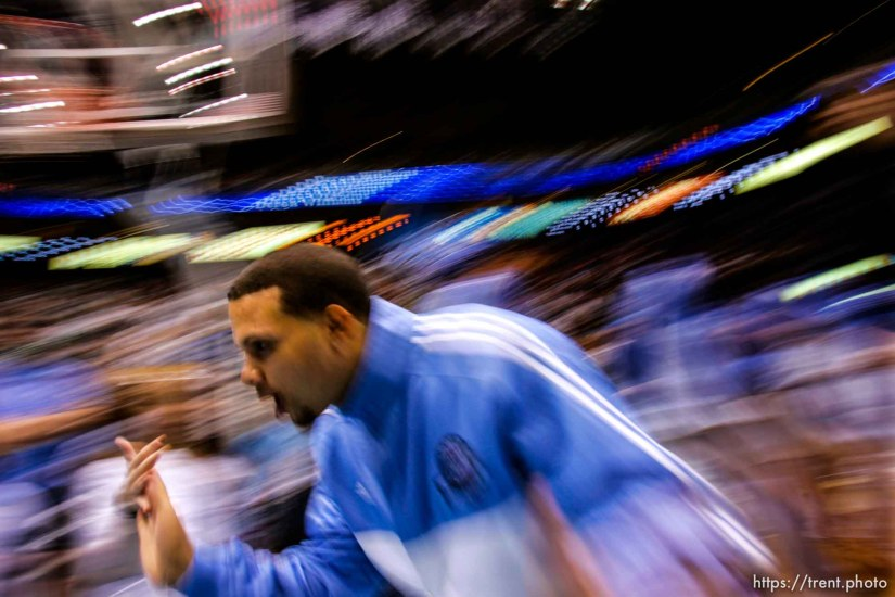 Utah Jazz guard Deron Williams (8) pre-game introductions. Salt Lake City - Utah Jazz vs. Golden State Warriors, NBA basketball Saturday night at EnergySolutions Arena. ; 11.03.2007
