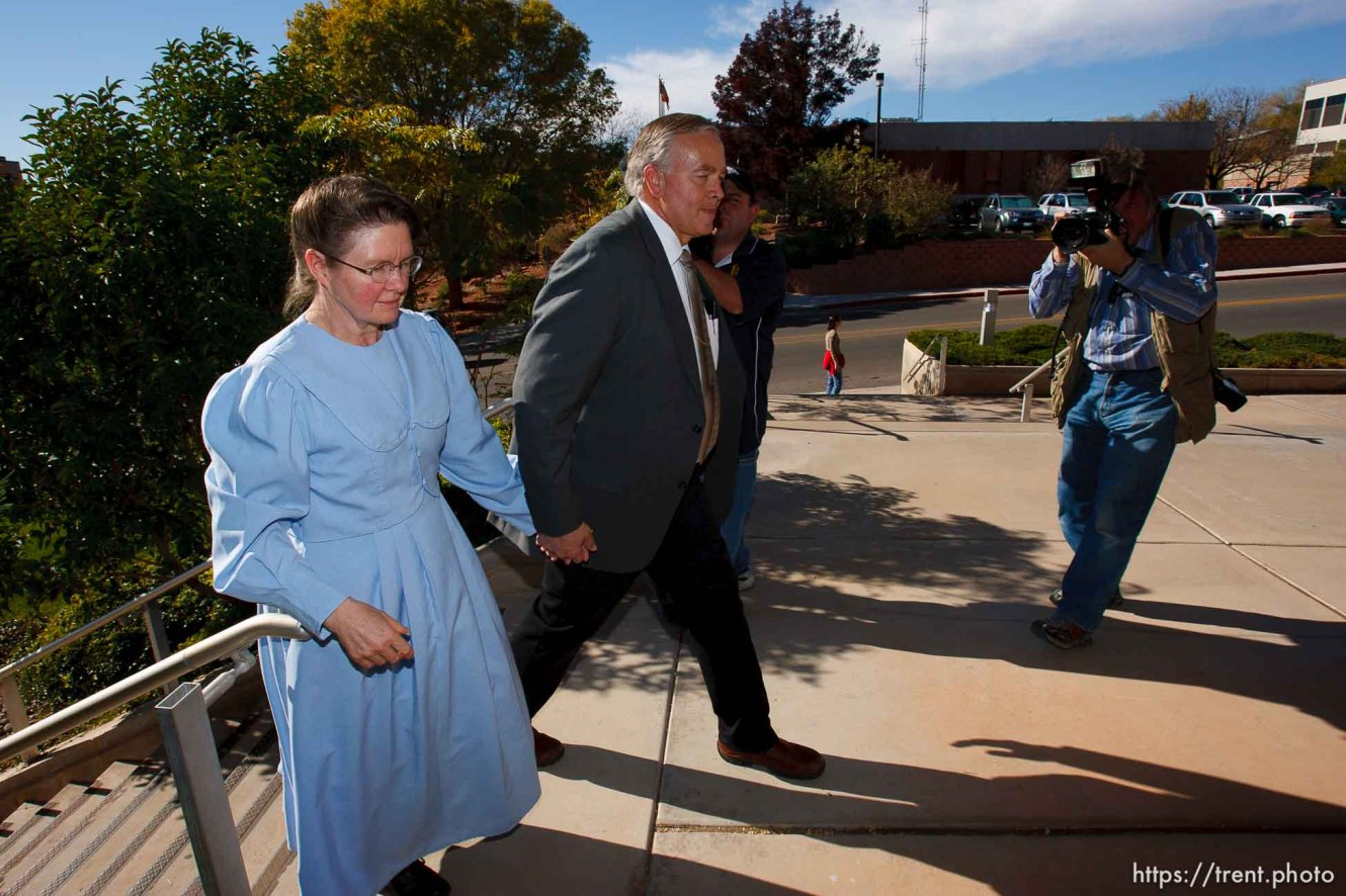 Lamar Johnson and unidentified woman. Doug Pizac at right. St. George - Polygamous sect leader Warren Jeffs was sentenced Tuesday, November 20, 2007 after being found guilty on two counts of rape as an accomplice, in St. George, Utah. Jeffs, head of the Fundamentalist Church of Jesus Christ of Latter Day Saints, was found guilty of two counts of rape as an accomplice for allegedly coercing the marriage and rape of a 14-year-old follower to her 19-year-old cousin in 2001. ; 11.20.2007