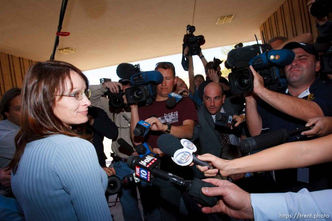 """St. George - Anti-polygamy activist Flora Jessop speaks with media outside of the 5th District Courthouse after the sentencing of polygamous sect leader Warren Jeffs. """"I think it was a good day for children,"""" she said. Jeffs was sentenced Tuesday to two consecutive counts of 5 years to life, November 20, 2007 after being found guilty on two counts of rape as an accomplice, in St. George, Utah. Jeffs, head of the Fundamentalist Church of Jesus Christ of Latter Day Saints, was found guilty of two counts of rape as an accomplice for allegedly coercing the marriage and rape of a 14-year-old follower to her 19-year-old cousin in 2001."""
