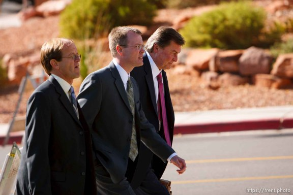 Washington County Attorney Brock Belnap with Craig Barlow, Ryan Shaum. St. George - Polygamous sect leader Warren Jeffs was sentenced Tuesday, November 20, 2007 after being found guilty on two counts of rape as an accomplice, in St. George, Utah. Jeffs, head of the Fundamentalist Church of Jesus Christ of Latter Day Saints, was found guilty of two counts of rape as an accomplice for allegedly coercing the marriage and rape of a 14-year-old follower to her 19-year-old cousin in 2001. ; 11.20.2007