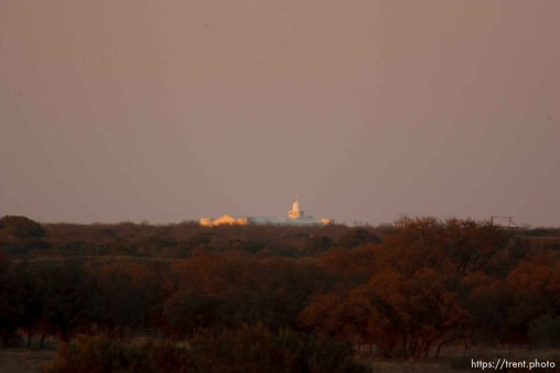 """Eldorado - temple. FLDS YFZ """"Yearning for Zion"""" compound outside of Eldorado, Texas, Saturday, April 5, 2008, just before the temple was breached."""