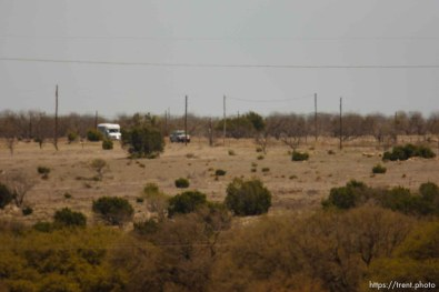 """Eldorado - First Baptist Church bus coming out on CR-300 during raid on the FLDS YFZ """"Yearning for Zion"""" compound outside of Eldorado, Texas, Saturday, April 5, 2008."""