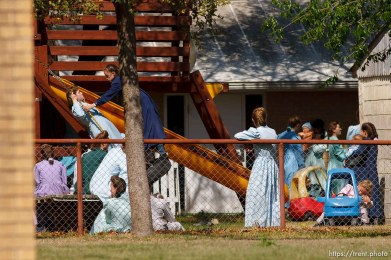 Eldorado - FLDS members on the playground at the First Baptist Church, where they were being held by CPS, Saturday, April 5, 2008.