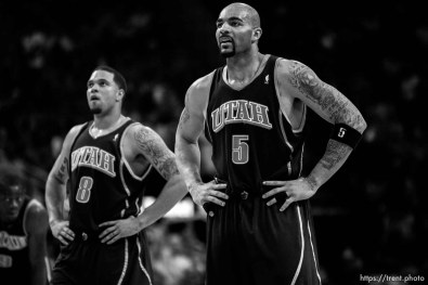 Utah Jazz guard Deron Williams (8) Utah Jazz forward Carlos Boozer (5)