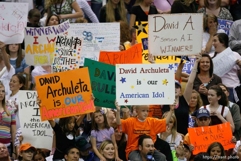 Salt Lake City - David Cook was announced the winner of the seventh season of American Idol is announced live in front of a frenzied crowd of David Archuletta fans Wednesday, May 21, 2008 at EnergySolutions Arena. ; 5.21.2008