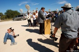 Eldorado - FLDS spokesman Willie Jessop read a statement from the FLDS Church at the YFZ ranch Monday, June 2, 2008. The statement said the sect would not allow underage marriages.. Monday June 2, 2008. Brian Connelly