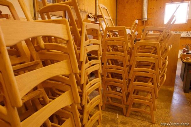Eldorado - Tour of YFZ Ranch Thursday, June 26, 2008. wood shop, chairs